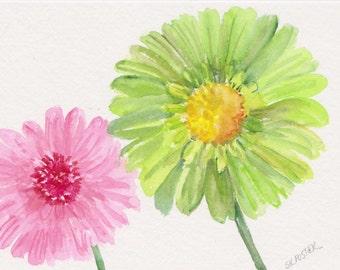 Gerber Daisies Watercolor Painting Original, gerbera watercolor painting of pink, green flowers, floral art, daisies painting 5 x 7 floral