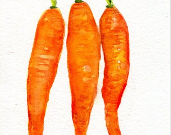 Original carrots watercolor painting 5 x 7 water color painting bunch of carrots, small vegetable artwork, OOAK Modern minimalist watercolor