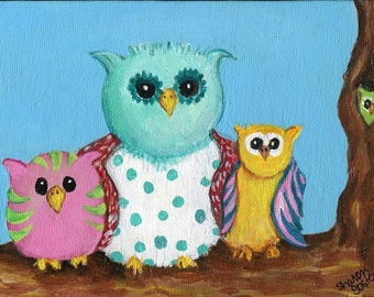 Colorful Owls canvas little painting, original 5 x 7, whimsical owl art, owl decor, birds painting, acrylic painting of owls, bird art
