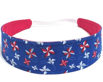 4th of July Headband, Little Girls Headbands, Toddler Headbands, Kids Headbands - PATRIOTIC PINWHEELS