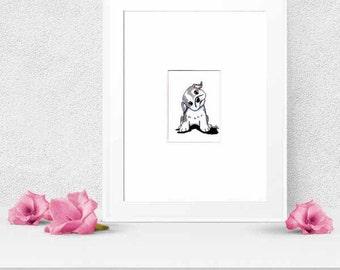 Original Dog Art Gray and White BULLDOG Puppy ATC Drawing ACEO