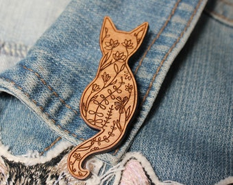 Cat Brooch -  cherry wood filigree cat jewellery jewelry crazy cat lady cat badge pin wooden cats