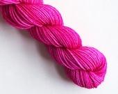 rose / hand dyed yarn / fingering sock dk bulky yarn / super wash merino wool yarn / single or ply / choose your base / rose pink yarn