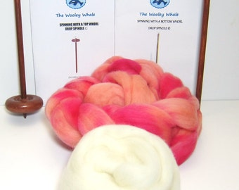 Double Drop Spindle Yarn Spinning Kit, Peach Melba, With Both Top and Bottom Whorl Spindle