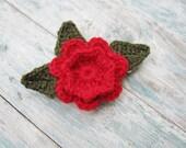 Hair Barrette Crochet Flower Red Rose Hair Barrette Flower Hairclip