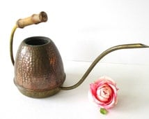 Copper Watering Can Hammered Copper Brass & Wood Handle Midcentury Minimalist Decor Indoor Gardening Plant Care Plants Danish Modern