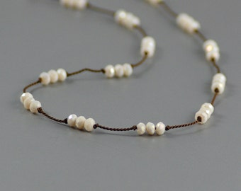 Delicate Short Layering Necklace Featuring Opaque Pearlescent Ivory Crystals Hand-knotted on Pure Silk Cord
