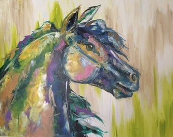 Horse painting, Equestrian canvas painting, Original fine art -X Large 30x40 inches Original Acrylic Canvas Painting, Abstract Painting