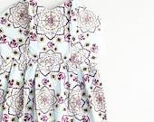 Vintage Dress, Bohemian, Mini Dress, Strapless Dress, Mandala, Boho Chic, Medium, Vintage Clothing, Summer Dress, Pale Blue, Unique