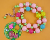 Chunky Cherry Necklace - Pastel Colours, Candy Gumball Necklace, Glitter Cherry Pendant - Green Pink Yellow Blue - Fairy Kei Harajuku Decora