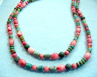 Natural Turquoise and Pink Howlite Stone Bead Necklace, Blue Gemstone Necklace, Handmade Bead Jewelry