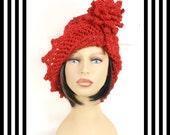Red Crochet Hat Womens Hat Crochet Cloche Hat Crochet Flower in Red Sparkle Red Hat, Crochet Winter Hat, LAUREN Cloche Hat with Flower