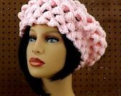 Crochet Beret Hat, Pink Crochet Hat Womens Hat Trendy, Womens Crochet Hat, Crochet Shell Stitch, Crochet Beret Hat, Pink Hat, LENA