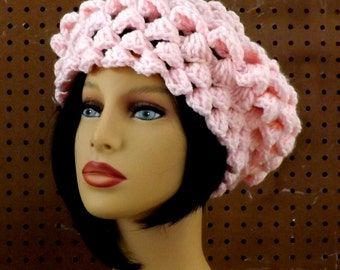 Womens Chunky Beret,  Winter Beret Chunky Hat,  Warm Winter Hat,  Crochet Hat Womens Hat,  Winter Accessories,  Lena Hat,  Soft Pink