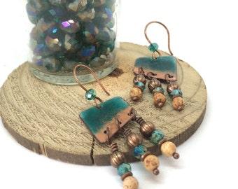Artisan Enamel Copper Dangle Earrings, Torch Fired Enamel Charm Earrings, Casual Southwestern Boho Style Glass Earrings, Rustic Turquoise
