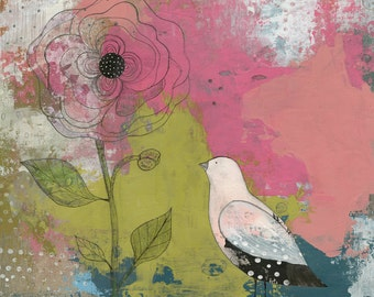 Bird Art- Mixed Media Collage Art Print or Print on Canvas, Coloful Art for the Bedroom