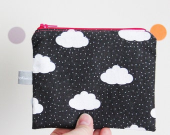 Zipped coin purse - clouds - dots - autumn - gray - dark gray - white - pink - mini pouch - shopping - woman - girl - gift