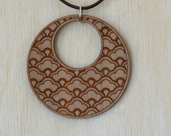 Japanese Flower Cherry Wood Necklace