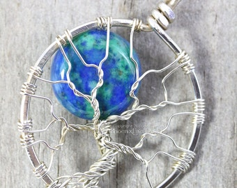 Azurite Malachite Full Moon Tree of Life Pendant Eco Friendly Recycled Argentium Sterling Silver Necklace Celestial Wire Wrapped Jewelry RTS