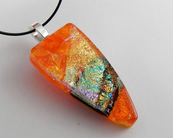Orange Dichroic Fused Glass Pendant - Complimentary Cord