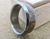 Titanium Ring, Wood Ring, Wood Inlay Ring, Wedding Ring, Mens Ring, Titanium Wood Ring, Custom Made Ring, Black Ash Burl Ring, Engraved Ring