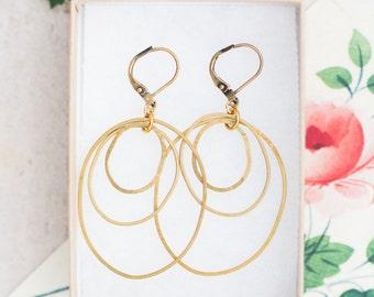 Golden Brass Hoop Earrings, Large Hoop Earrings, Hammered Hoop Earrings, Orbit Hoop Earrings