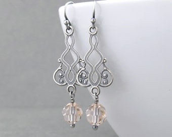 Peach Crystal Earrings Wedding Earrings Bridal Earrings Filigree Earrings Silver Drop Earrings Handmade Fashion Jewelry - Moroccan Dreams