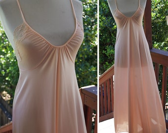 Pale PEACH 1970's Vintage Light Peachy Pink Neglige Gown w/ Plunging Neckline + Lace // by G's // size XS Small