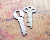Antique Flat Key Duo / Initial T // New Year Sale - 15% OFF - Coupon Code SAVE15