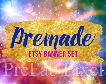 Space Shop Banner Set, Cover Photo, Gold Etsy Shop Banner, Star Banner, Etsy Shop Design Set, Bokeh Banner, Colorful Banner, Galaxy Banner