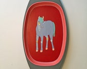 Hand Painted Horse Tray - Upcycled  Vintage Thrift Store Serving Tray