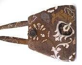 brown handbag, large tote bag converts to hobo, brown shoulder bag, diaper bag, fabric purse, everyday bag, fabric tote bag