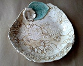 Ceramic Damask Shallow Bowl  Tea Stained Color