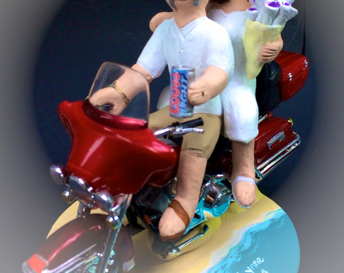 Coors Beer Groom on a Harley Motorcycle Wedding Cake Topper