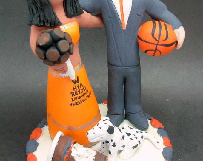 Bride in Sari Wedding Cake Topper, East Indian Bride Wedding Cake Topper, Basketball Groom Wedding Cake Topper, Mixed Race Anniversary Gift