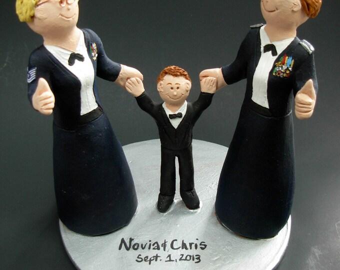 Gay Army Bride's Wedding Cake Topper, Lesbian Wedding Cake Topper, Wedding Cake Topper for Two Women, gay marriage figurine, lesbian wedding