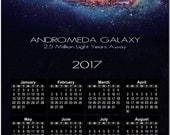 Beautiful Andromeda Galaxy 2017 Full Year View Calendar - Magnet or Wall #3786