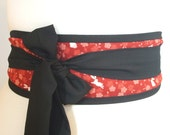 Obi belt 'Red Japanese rabbits and blossom' by loobyloucrafts - Red obi belt, geisha japanese style kimono belt sash