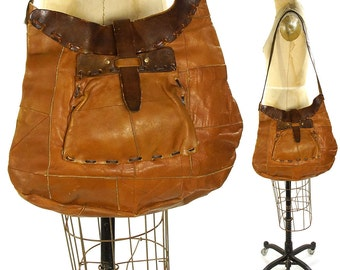 60s Patchwork Leather Hobo / Vintage 1960s Large Handmade Hippie Boho Purse / One of a Kind Distressed Worn In Bohemian Shoulder Bag