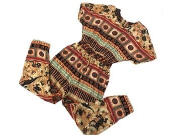 Southwestern Jumpsuit / Vintage 1990s Boho Southwest Print Jumper / Hippie Ethnic Crinkle Rayon Romper with Palazzo Pants