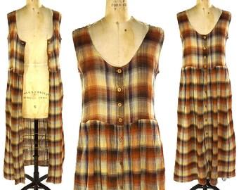 90s LIMITED Cotton Gauze Maxi Dress / Vintage 1990s Grunge Sundress / Plaid Button Down Sleeveless Duster / Women's Long Dress