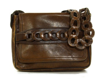 70s Boho Leather Purse / Vintage 1970s Bohemian Leather Hippie Shoulder Bag / Brown Distressed Hobo with Flap Closure