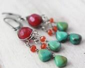Raspberry Jade, Carnelian and Turquoise Chandelier Earrings
