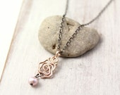 14k Rose Gold Rose and Pink Pearl Oxidized Silver Necklace