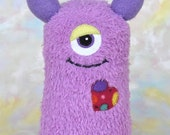 Handmade Sock Monster Doll, Plush Stuffed Art Toy, Hug Me Monster, Personalized Tag, Orchid, Lavender, Purple, Red, 10 inch, Ready-made