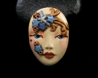 Star Goddess Face CAB Cabochon Handmade and hand painted Polymer Clay