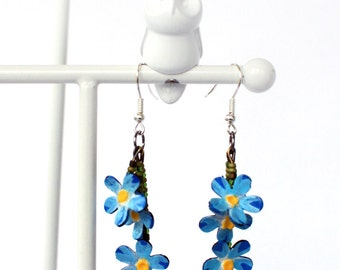 Forget-me-not earrings- Christmas present ideas for mom, Cute earrings,for her, upcycled jewelry, painted earrings, blue flowers #339