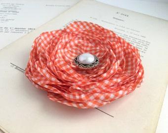 Orange Gingham Flower Hair Clip.Gingham Brooch.pin.Flower Hair Accessory.Orange Hair Piece.checkered.checked.Orange & white Flower.Wedding