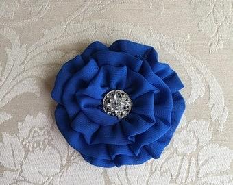 Royal Blue Flower Headpiece.Brooch.Pin.Bridesmaid.wedding.Chiffon Flower.hair accessory.ready to ship.hair piece.hairpiece.bridal.royal blue
