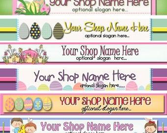 Premade Etsy Shop Banner - Etsy Shop Design - SHOP ICON - Primitive Easter Eggs Bunny Basket Chicks